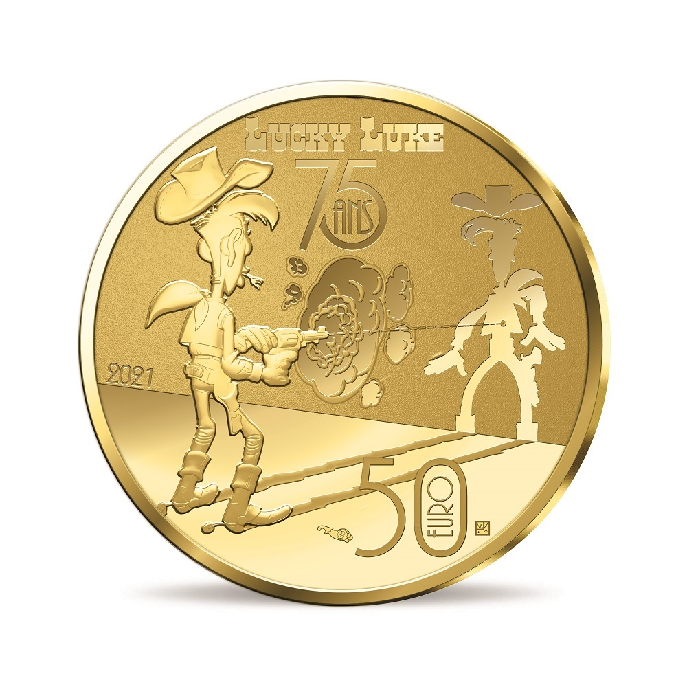 (EUR07.ComBU&BE.2021.10041356270000) 50 euro France 2021 Proof gold - Lucky Luke Reverse (zoom)