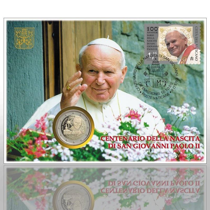 (EUR19.ComBU&BE.2020.CF1553) 2 euro Vatican 2020 BU & 1.15 € - Pope John Paul II (zoom)