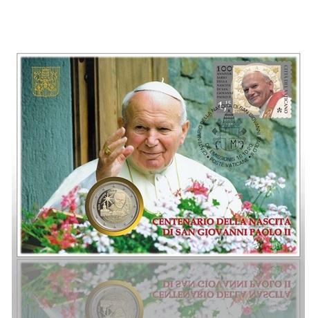 (EUR19.ComBU&BE.2020.CF1553) 2 euro commémorative Vatican 2020 BU & 1,15€ - Jean-Paul II