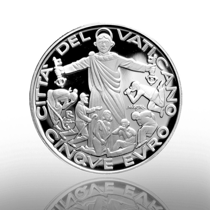 (EUR19.ComBU&BE.2020.CN1549) 5 euro Vatican 2020 Proof Ag - World Migrant and Refugee Day Reverse (zoom)