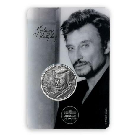 (FMED.Méd.souv.2020.10011351050000) Jeton souvenir - Portrait de Johnny Hallyday Recto