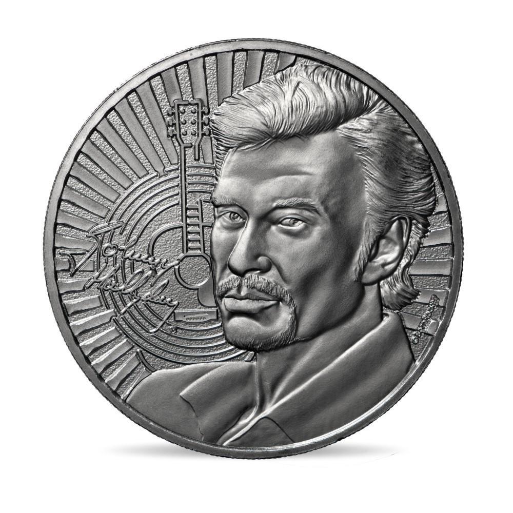 (FMED.Méd.souv.2020.10011351050000) Token - Portrait of Johnny Hallyday Obverse (zoom)