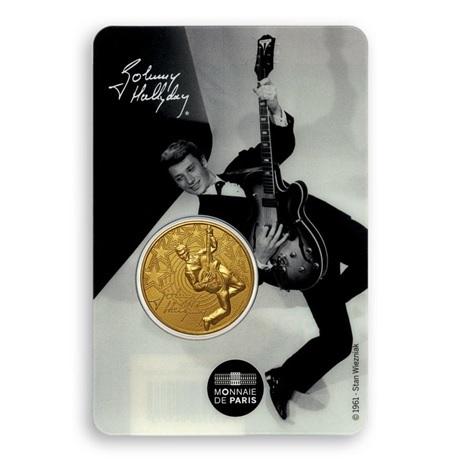 (FMED.Méd.souv.2020.10011351060000) Jeton souvenir - Johnny Hallyday et sa guitare Recto