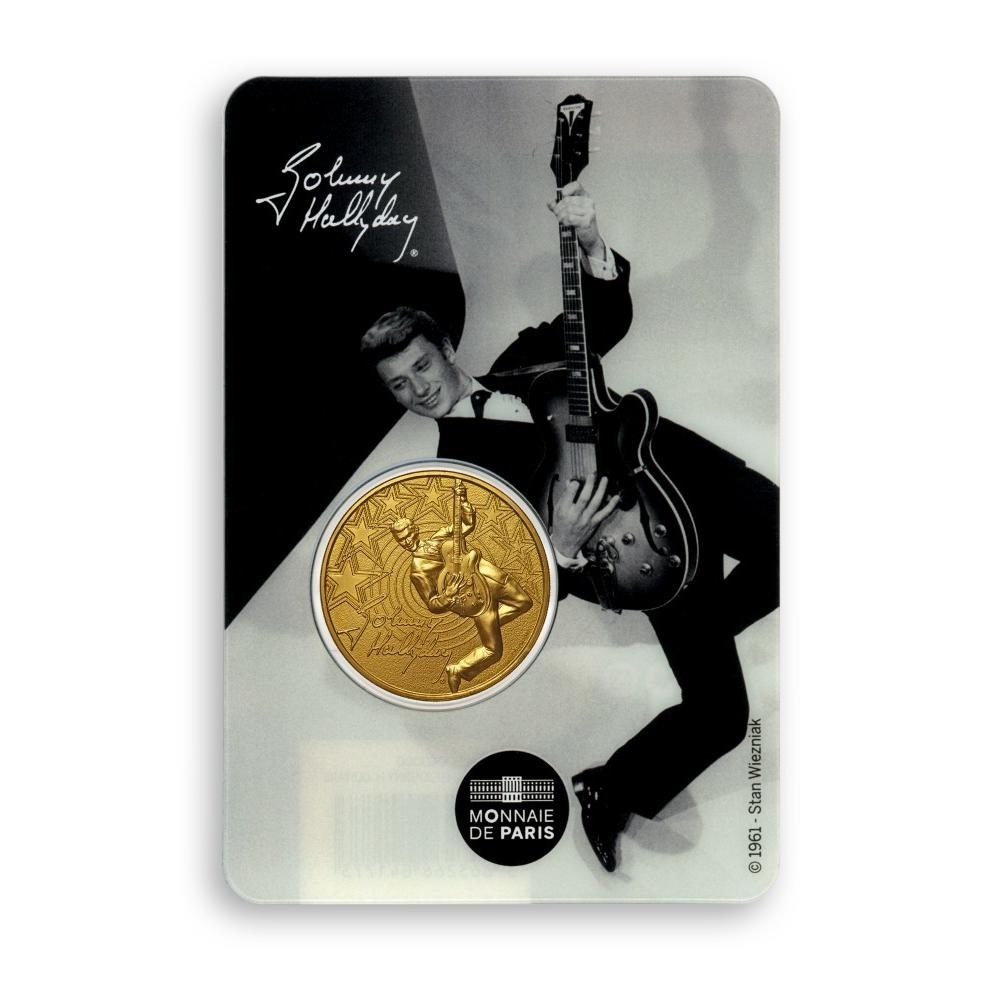 (FMED.Méd.souv.2020.10011351060000) Token - Johnny Hallyday and his guitar Front (zoom)