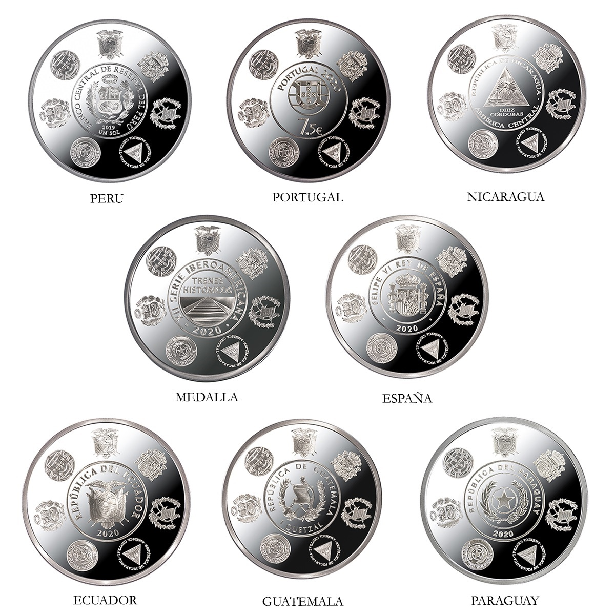 (LOT.134.coin.set.2020.32907020) Proof silver coin set Historical trains 2020 Obverses (zoom)