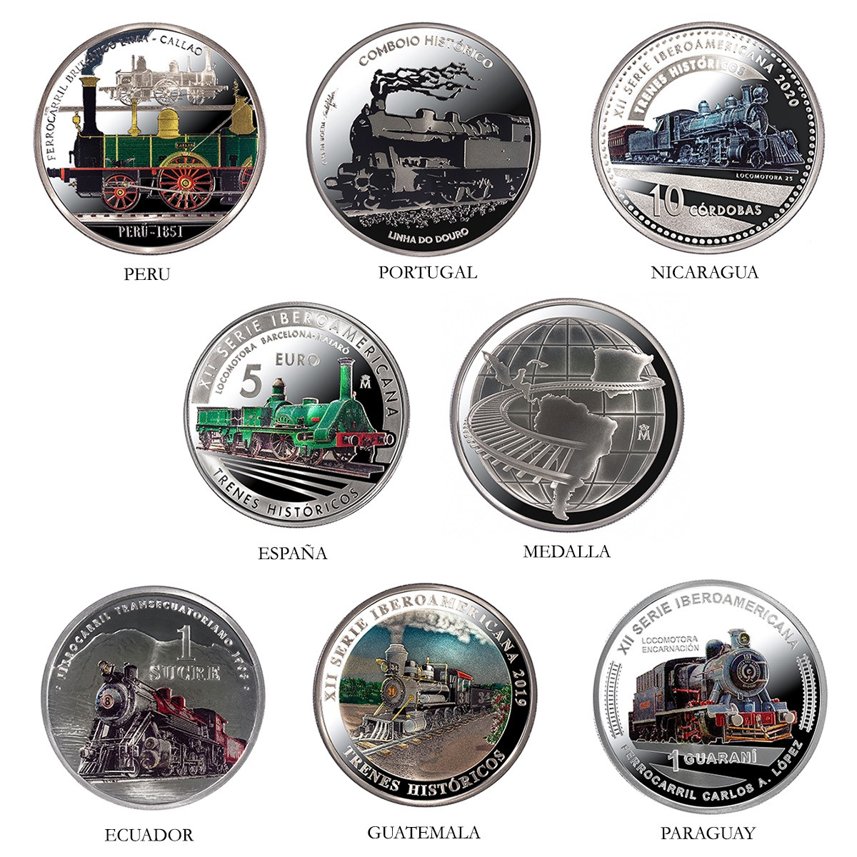 (LOT.134.coin.set.2020.32907020) Proof silver coin set Historical trains 2020 Reverses (zoom)
