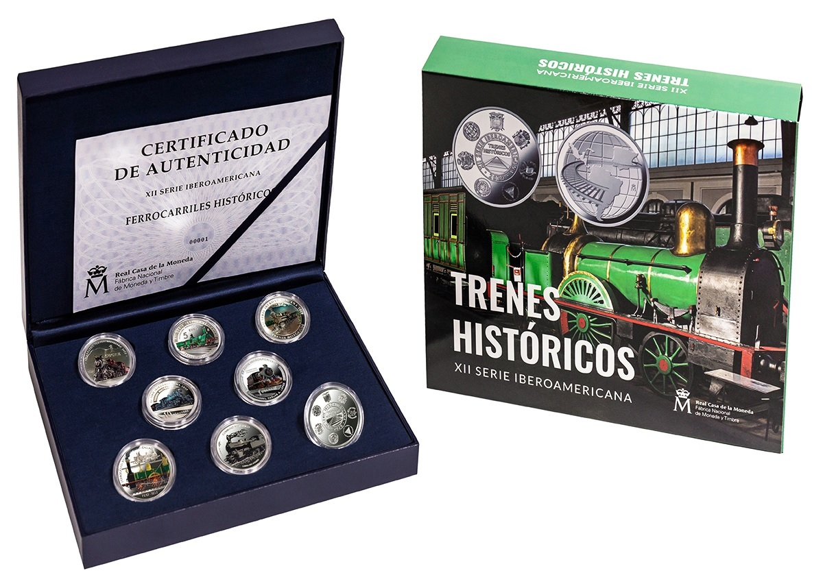 (LOT.134.coin.set.2020.32907020) Proof silver coin set Historical trains 2020 (zoom)