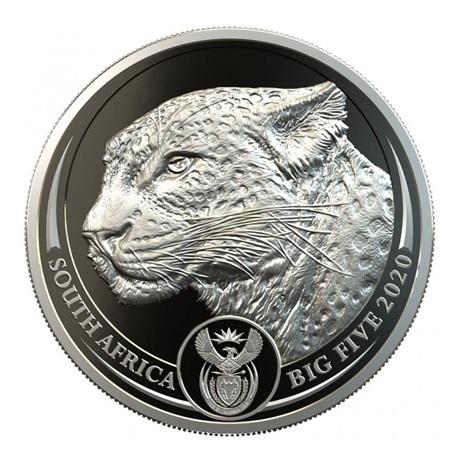 (W002.20.R.2020.1.oz.Pt.2) 20 Rand Afrique du Sud 2020 1 once platine BE - Léopard Avers