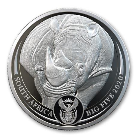 (W002.5.R.2020.1.oz.Ag.1) 5 Rand Afrique du Sud 2020 1 once argent BE - Rhinocéros Avers