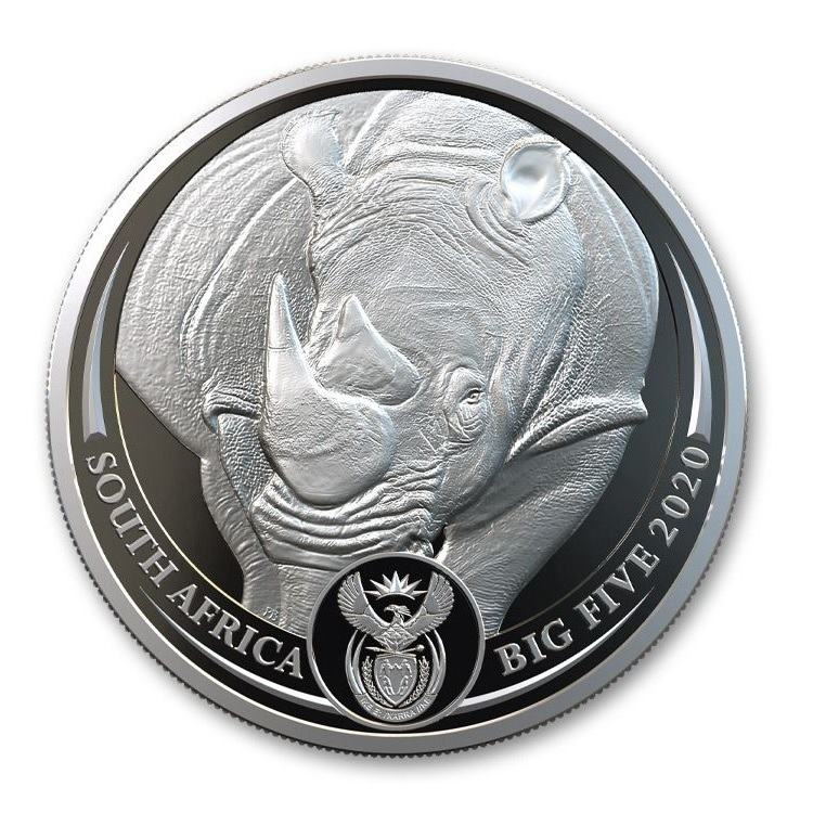 (W002.5.R.2020.1.oz.Ag.1) 5 Rand South Africa 2020 1 ounce Proof silver - Rhino Obverse (zoom)