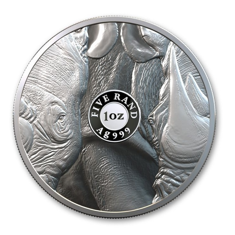 (W002.5.R.2020.1.oz.Ag.1) 5 Rand South Africa 2020 1 ounce Proof silver - Rhino Reverse (zoom)