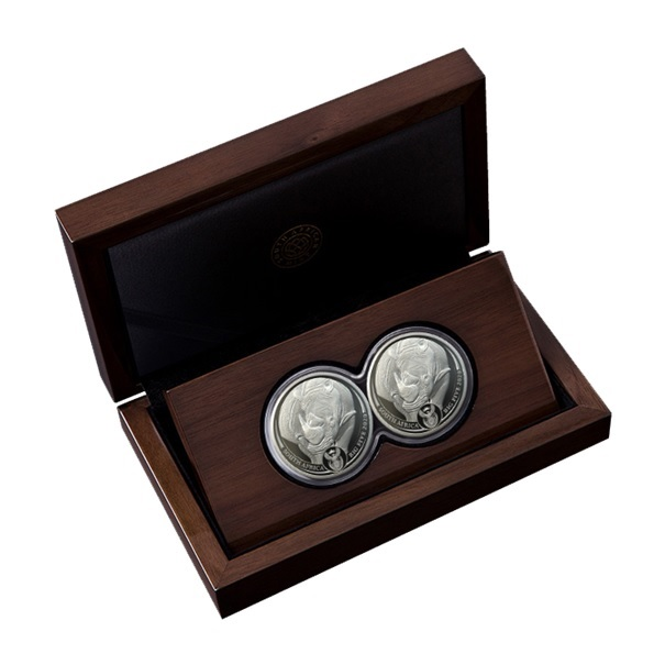(W002.5.R.2020.1.oz.Ag.2) Diptych 5 Rand South Africa 2020 1 ounce Proof silver - Rhino Obverses (zoom)