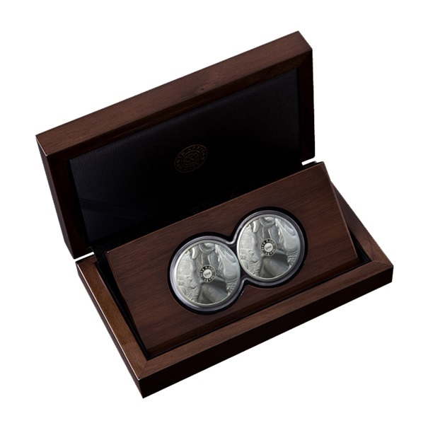 (W002.5.R.2020.1.oz.Ag.2) Diptych 5 Rand South Africa 2020 1 ounce Proof silver - Rhino Reverses (zoom)