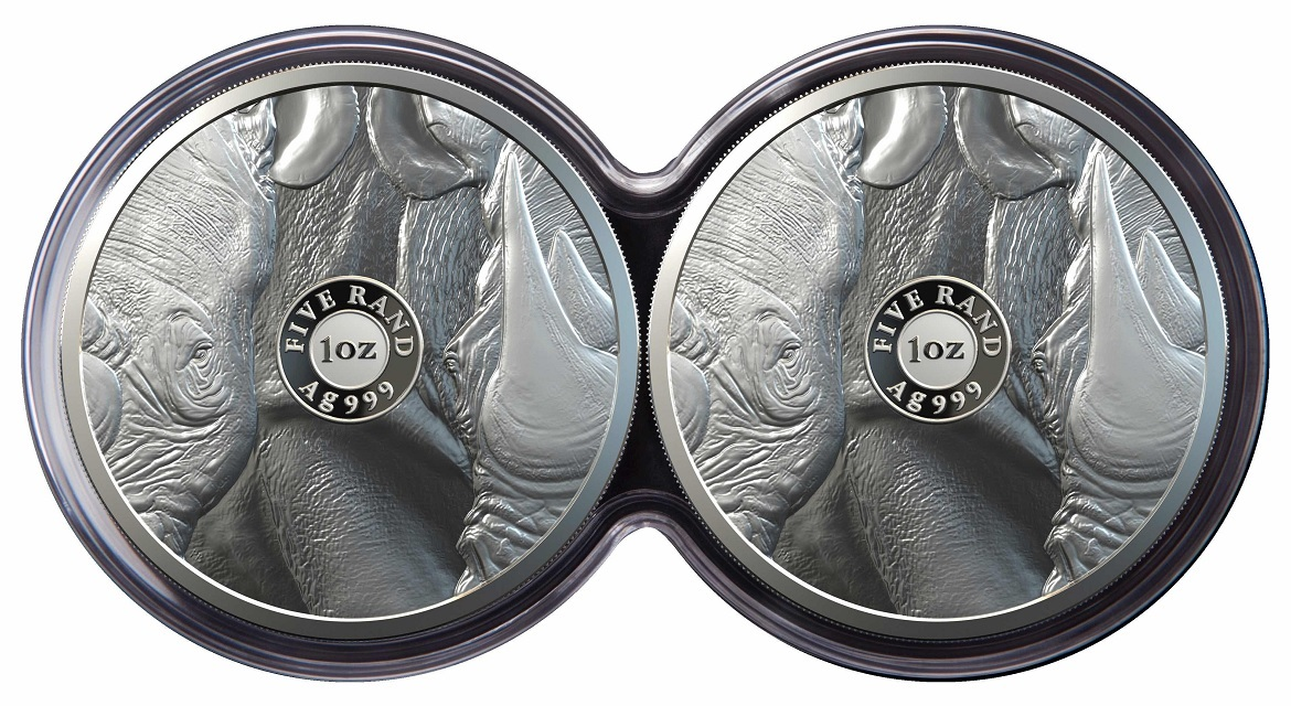 (W002.5.R.2020.1.oz.Ag.2) Diptych 5 Rand South Africa 2020 1 ounce Proof silver - Rhino (pieces) (zoom)