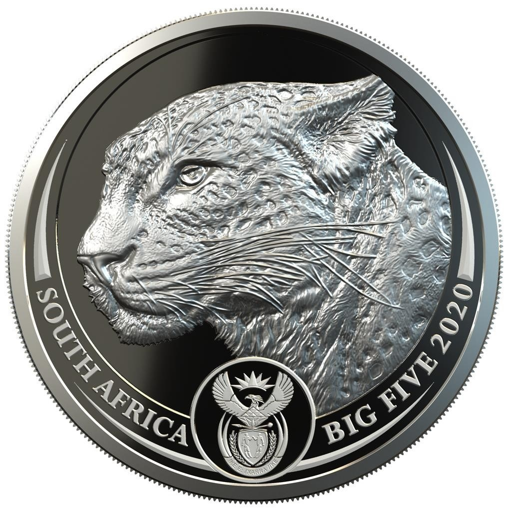 (W002.5.R.2020.1.oz.Ag.3) 5 Rand South Africa 2020 1 ounce Proof silver - Leopard Obverse (zoom)