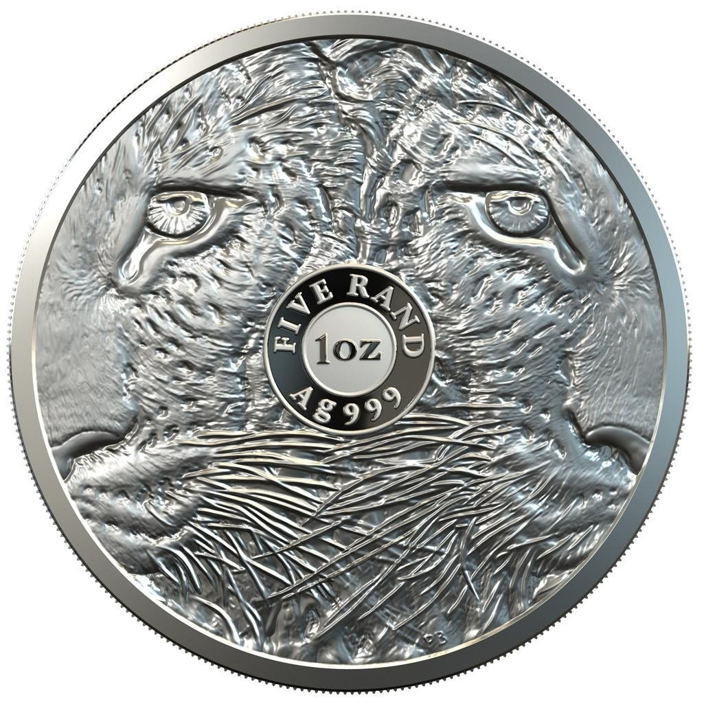 (W002.5.R.2020.1.oz.Ag.3) 5 Rand South Africa 2020 1 ounce Proof silver - Leopard Reverse (zoom)
