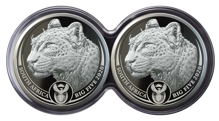 (W002.5.R.2020.1.oz.Ag.4) Diptych 5 Rand South Africa 2020 1 oz Proof Ag - Leopard (pieces obverses) (zoom)