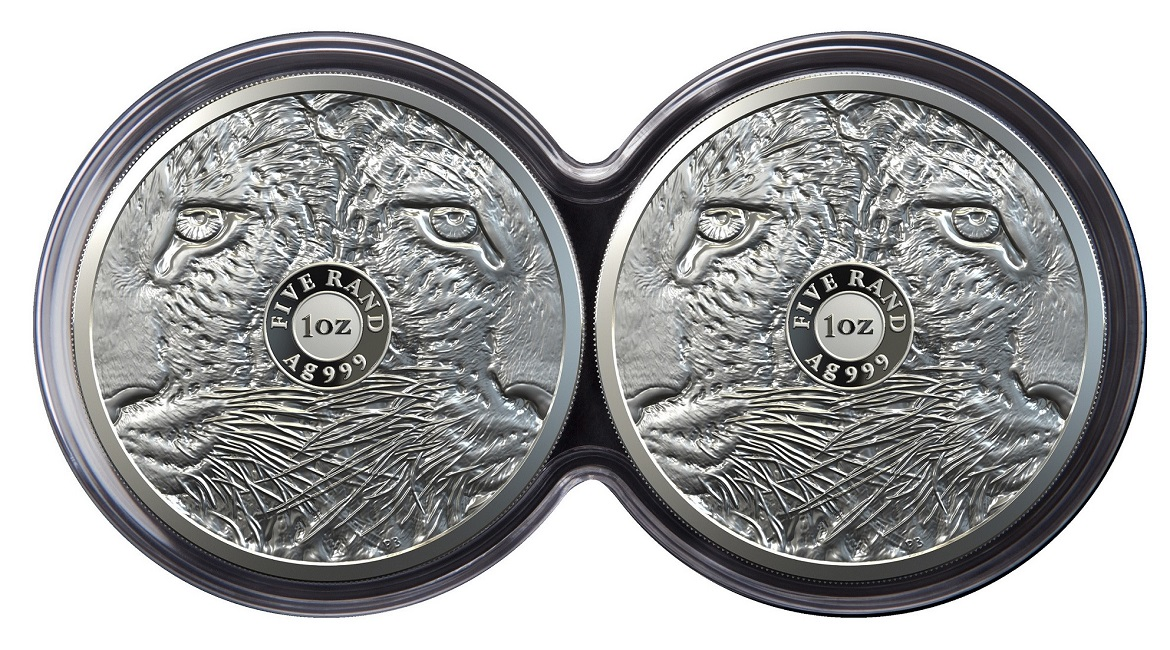 (W002.5.R.2020.1.oz.Ag.4) Diptych 5 Rand South Africa 2020 1 oz Proof Ag - Leopard (pieces reverses) (zoom)