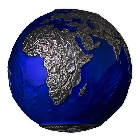 (W022.5.D.2021.3.oz.Ag.2) 5 Dollars Barbade 2021 3 oz Ag BU - La planète Terre de nuit (vue sur Afrique)