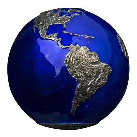 (W022.5.D.2021.3.oz.Ag.2) 5 Dollars Barbade 2021 3 oz Ag BU - La planète Terre de nuit (vue sur Amérique Sud)