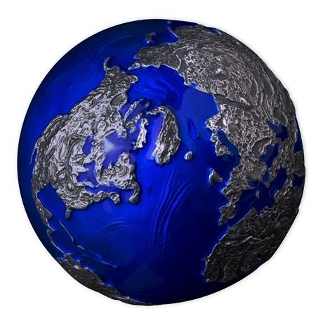 (W022.5.D.2021.3.oz.Ag.2) 5 Dollars Barbade 2021 3 oz Ag BU - La planète Terre de nuit (vue sur Amérique et Europe)