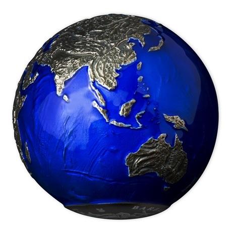 (W022.5.D.2021.3.oz.Ag.2) 5 Dollars Barbade 2021 3 oz Ag BU - La planète Terre de nuit (vue sur Asie et Océanie)