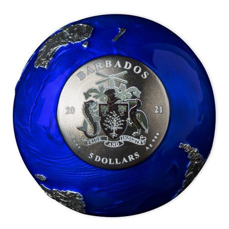 (W022.5.D.2021.3.oz.Ag.2) 5 Dollars Barbade 2021 3 oz Ag BU - La planète Terre de nuit (vue sur valeur faciale)