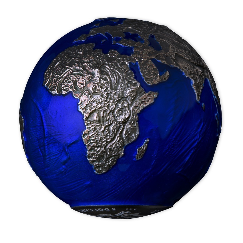 (W022.5.D.2021.3.oz.Ag.2) 5 Dollars Barbados 2021 3 oz BU Ag - Blue Marble at Night (view on Africa) (zoom)