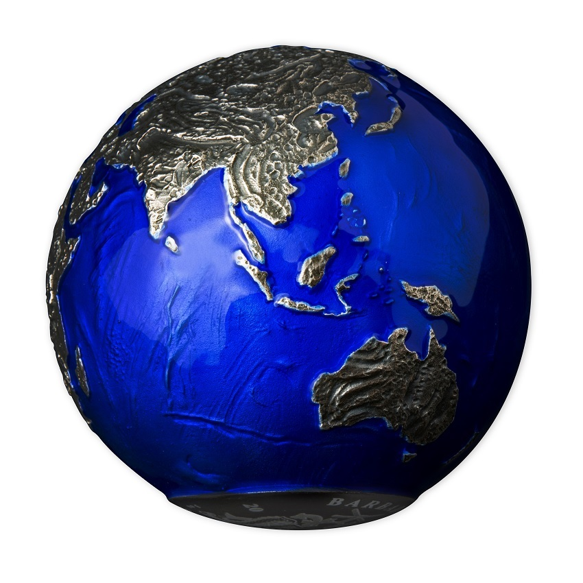 (W022.5.D.2021.3.oz.Ag.2) 5 Dollars Barbados 2021 3 oz BU Ag - Blue Marble at Night (view on Asia & Oceania) (zoom)