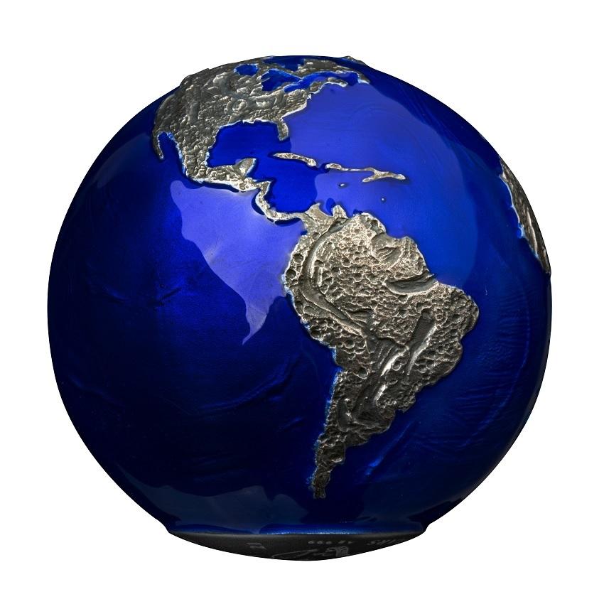 (W022.5.D.2021.3.oz.Ag.2) 5 Dollars Barbados 2021 3 oz BU Ag - Blue Marble at Night (view on South America) (zoom)