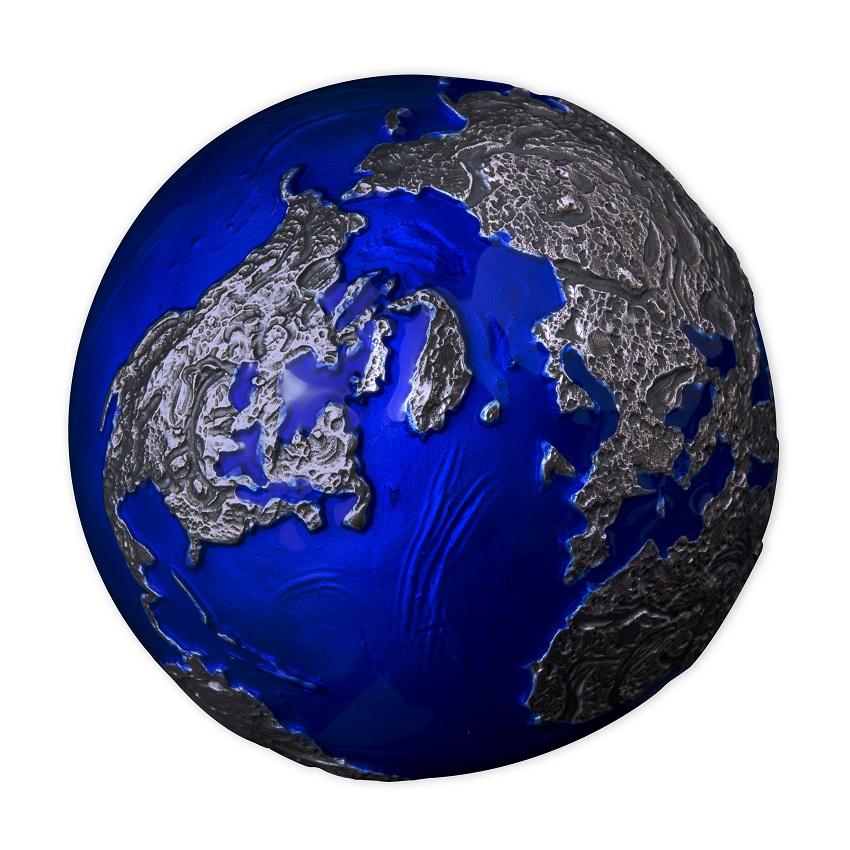 (W022.5.D.2021.3.oz.Ag.2) 5 Dollars Barbados 2021 3 oz BU Ag - Blue Marble (view on America & Europe) (zoom)
