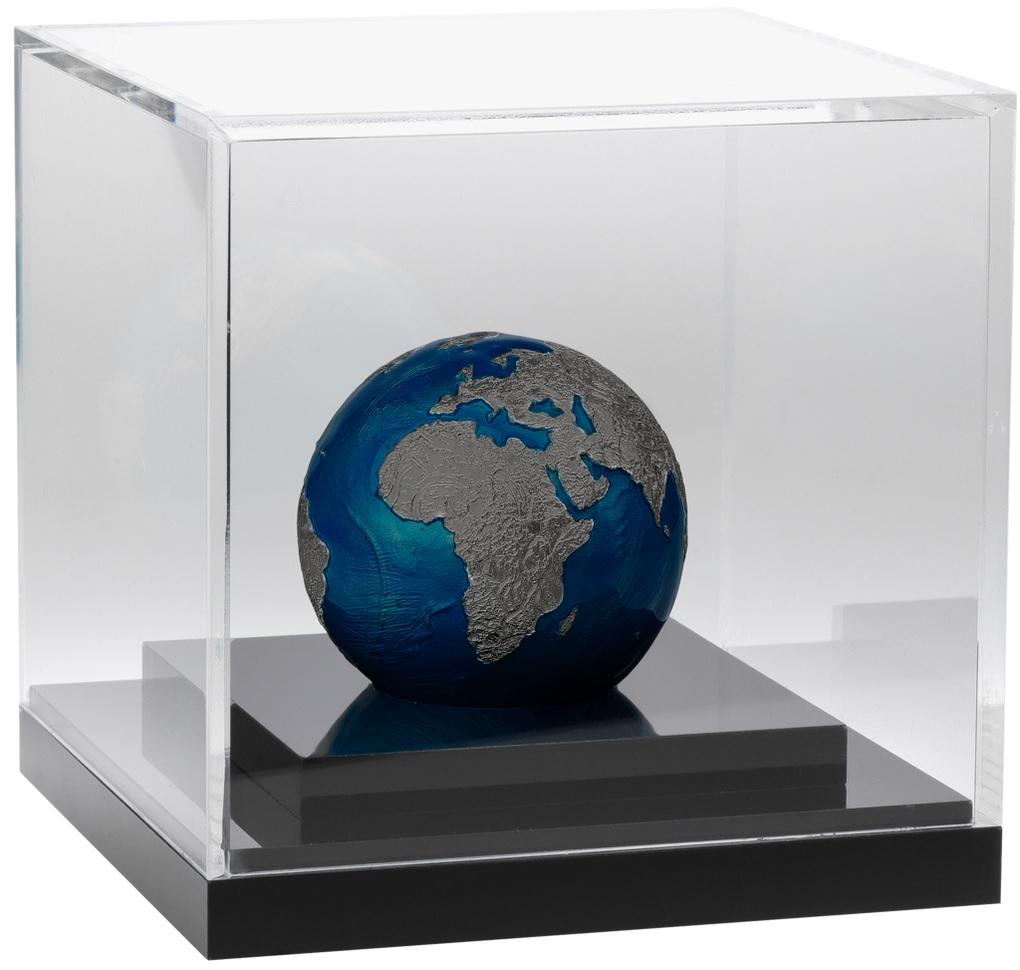 (W022.5.D.2021.3.oz.Ag.2) 5 Dollars Barbados 2021 3 oz BU silver - Blue Marble at Night (base) (zoom)