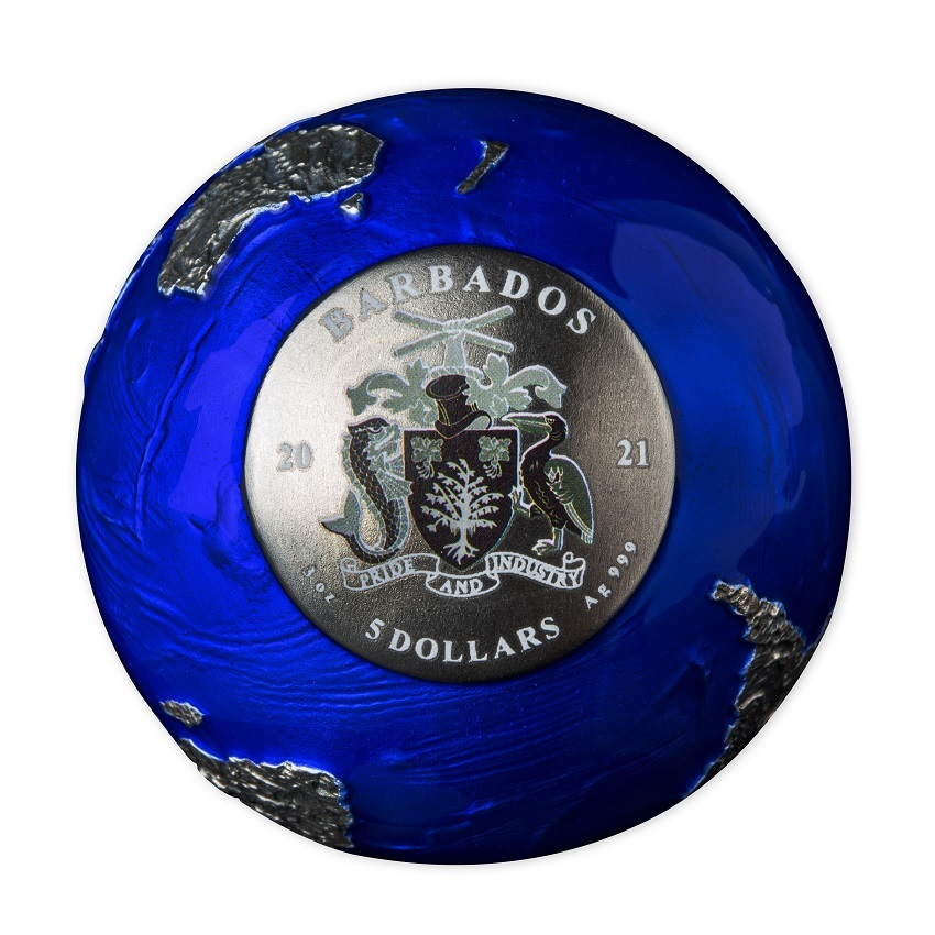(W022.5.D.2021.3.oz.Ag.2) 5 Dollars Barbados 2021 3 oz BU silver - Blue Marble at Night (view on face value) (zoom)