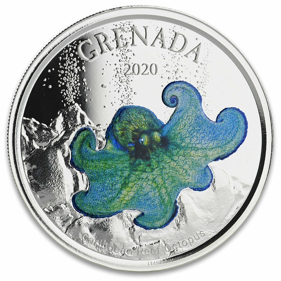 (W081.1.2.D.2020.1.oz.Ag.1) 2 Dollars Grenada 2020 1 ounce Proof Ag - Caribbean Reef Octopus Reverse (zoom)