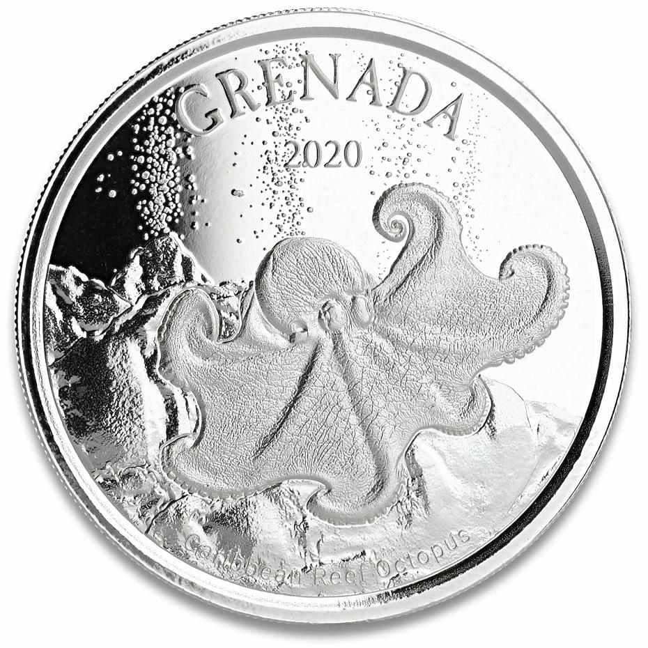 (W081.1.2.D.2020.1.oz.Ag.2) 2 Dollars Grenada 2020 1 ounce BU Ag - Caribbean Reef Octopus Reverse (zoom)