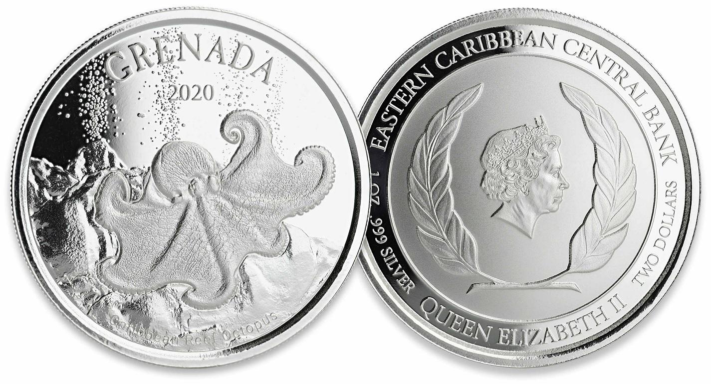 (W081.1.2.D.2020.1.oz.Ag.2) 2 Dollars Grenada 2020 1 ounce BU Ag - Caribbean Reef Octopus (zoom)