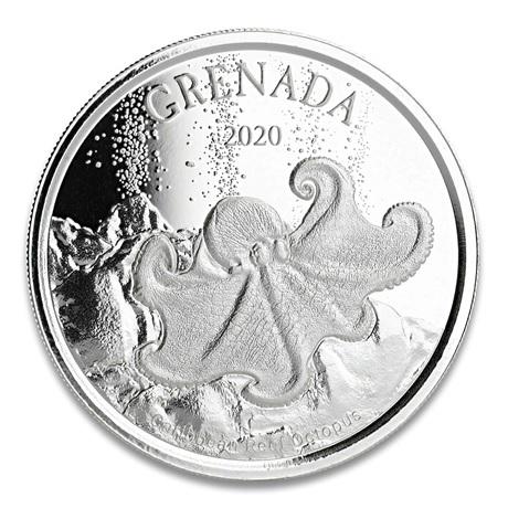 (W081.1.2.D.2020.1.oz.Ag.2) 2 Dollars Grenade 2020 1 once argent BU - Pieuvre Revers
