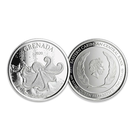 (W081.1.2.D.2020.1.oz.Ag.2) 2 Dollars Grenade 2020 1 once argent BU - Pieuvre