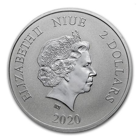 (W160.200.2020.1.oz.Ag.7) 2 Dollars Niue 2020 1 once argent BU - Dragon jaune Avers