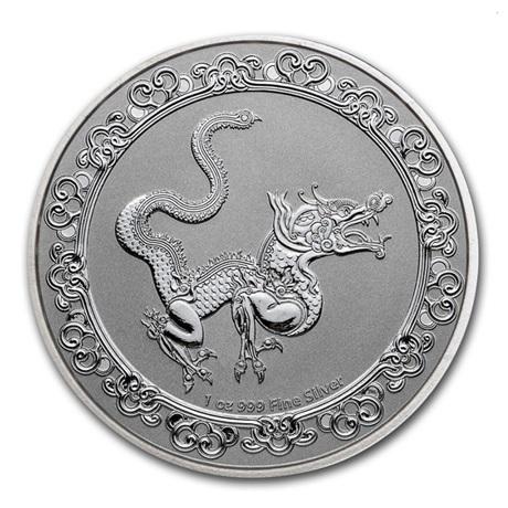 (W160.200.2020.1.oz.Ag.7) 2 Dollars Niue 2020 1 once argent BU - Dragon jaune Revers