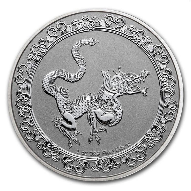(W160.200.2020.1.oz.Ag.7) 2 Dollars Niue 2020 1 oz BU silver - Yellow dragon Reverse (zoom)