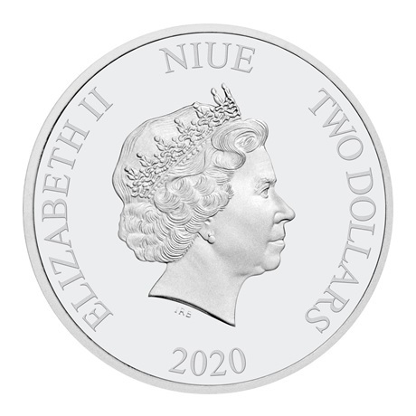 (W160.200.2020.30-00970) 2 Dollars Niue 2020 1 once argent BE - Vise haut ! Avers