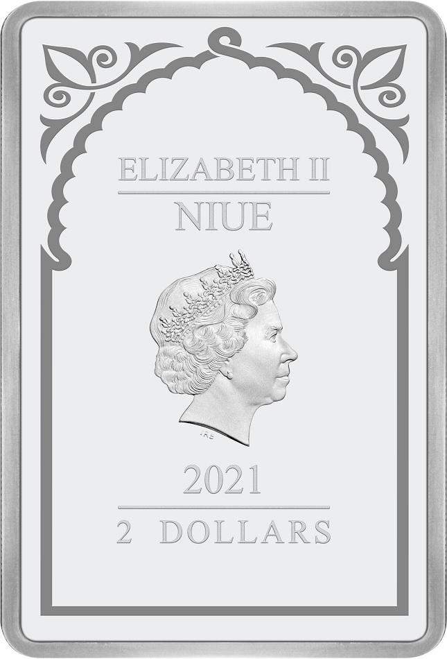 (W160.200.2021.30-00995) 2 Dollars Niue 2021 1 oz Proof silver - Archangel Uriel Obverse (zoom)
