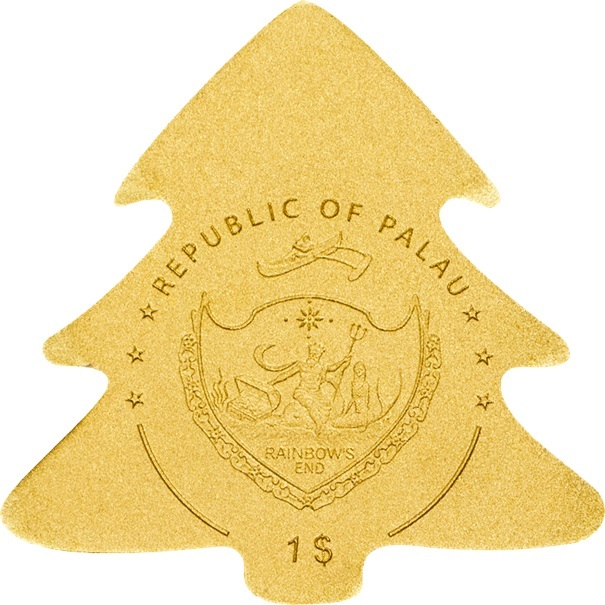 (W168.1.1.D.n.d._2020_.26986) 1 Dollar Christmas tree 2020 - BU gold Obverse (zoom)