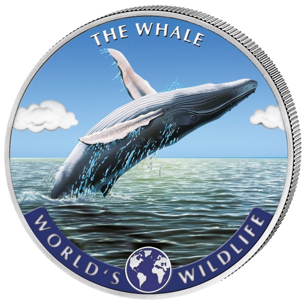 (W180.20.F.2020.1.oz.Ag.2.1) 20 Francs Congo 2020 1 oz silver - Whale (coloured) Reverse (zoom)