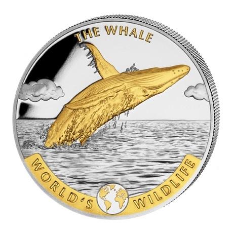 (W180.20.F.2020.1.oz.Ag.2.2) 20 Francs Congo 2020 1 once argent - Baleine (revers doré) Revers
