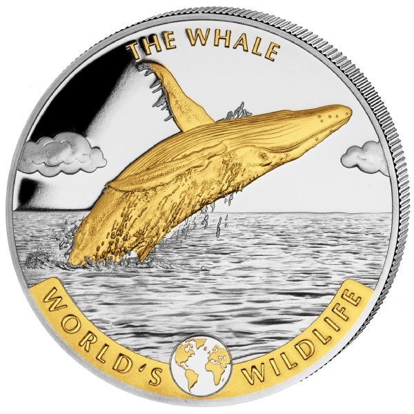 (W180.20.F.2020.1.oz.Ag.2.2) 20 Francs Congo 2020 1 oz silver - Whale (gilded reverse) Reverse (zoom)