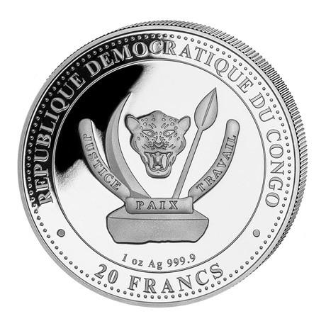 (W180.20.F.2020.1.oz.Ag.3) 20 Francs Congo 2020 1 once argent - Plésiosaure Avers