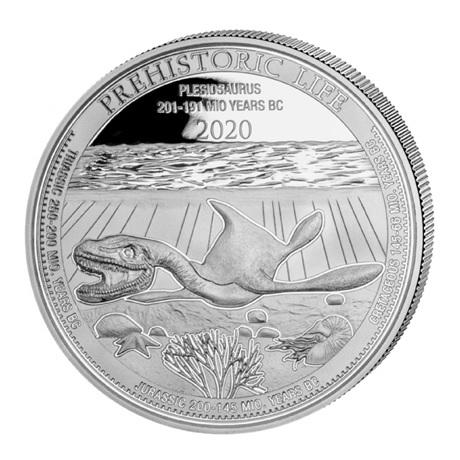 (W180.20.F.2020.1.oz.Ag.3) 20 Francs Congo 2020 1 once argent - Plésiosaure Revers