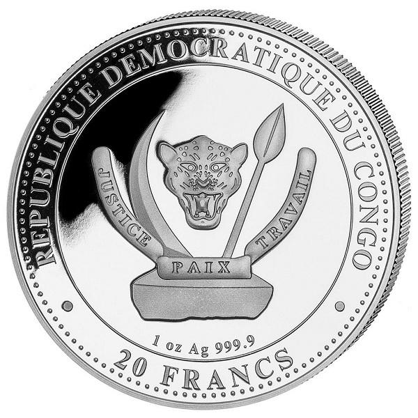 (W180.20.F.2020.1.oz.Ag.3) 20 Francs Congo 2020 1 oz silver - Plesiosaurus Obverse (zoom)